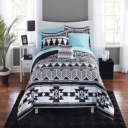 Amazon Com 8 Piece Black White Southwest Comforter King Set Aztec