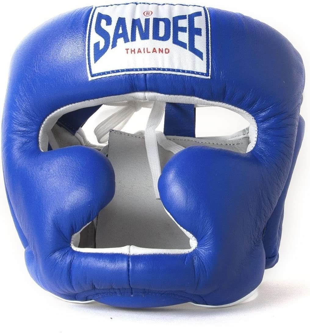 Sandee Kids Head Guard Muay Thai Boxing Closed Face Synthetic Blue