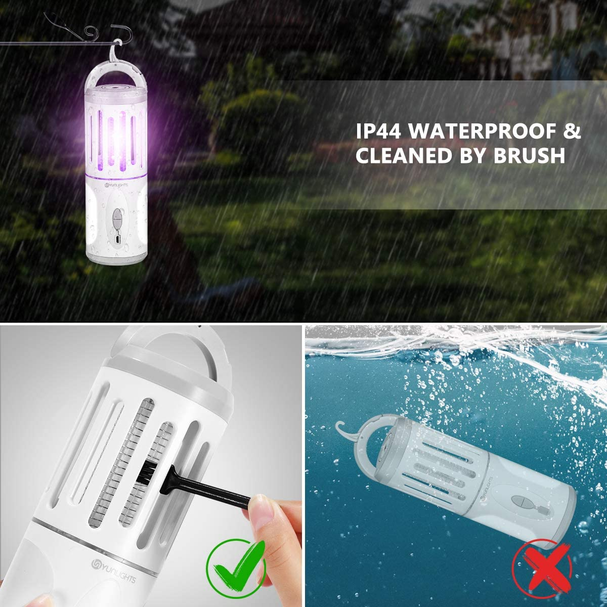 Electronic Mosquito Killer and Lighting, Portable UV Bug Zapper USB Rechargeable Waterproof Emergency Lantern for Indoor & Outdoor