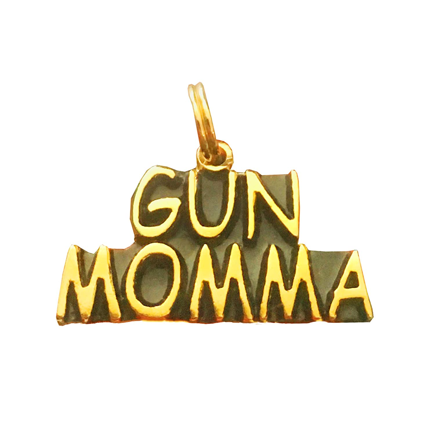 Amazon com: Gun Momma - Text Pendant/Charm, Yellow Gold
