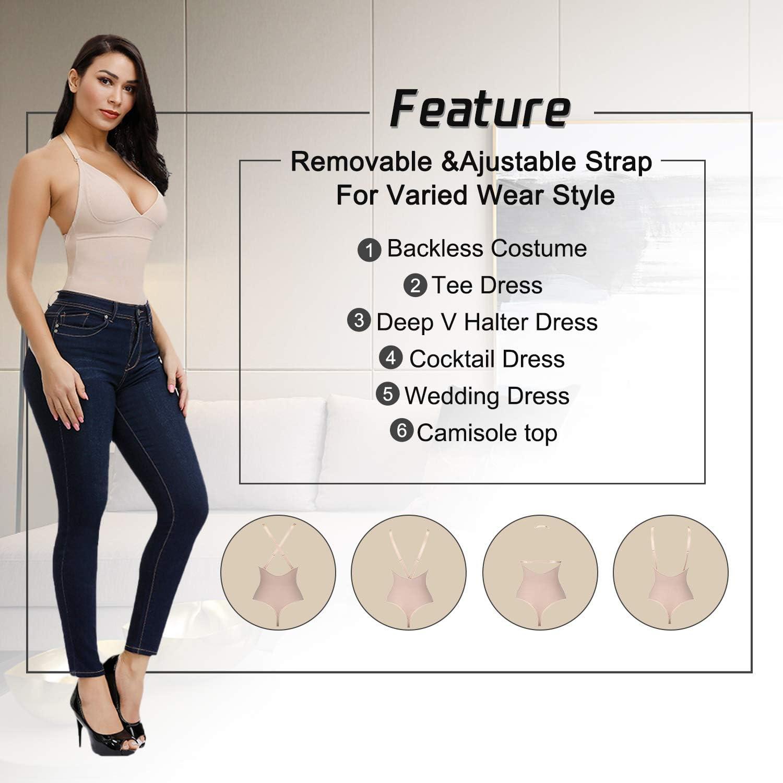 FeelinGirl Womens Open Bust Tummy Control Shapewear Thong High Waist Ladies Bodysuits