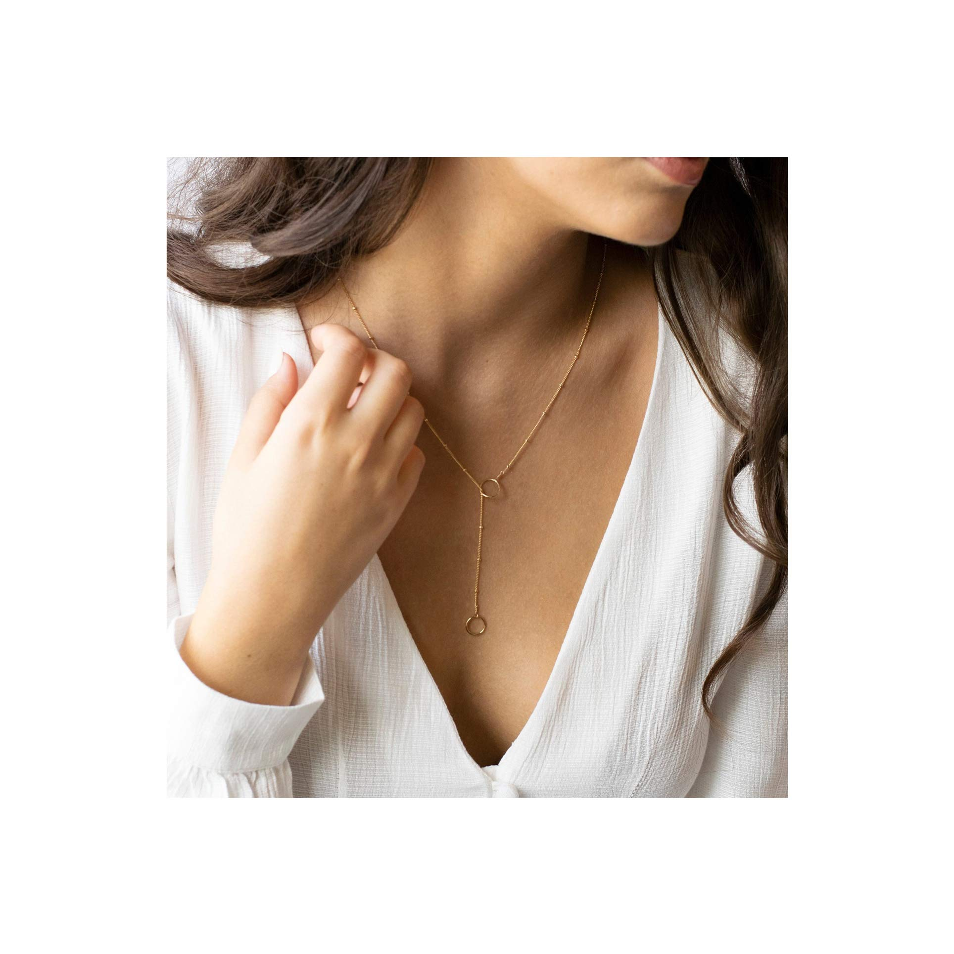 Mevecco Gold Long Lariat Necklace for Women 14K Gold Plated Dainty Turtle Animals/Karma Charm Y Pendant Necklace by Mevecco