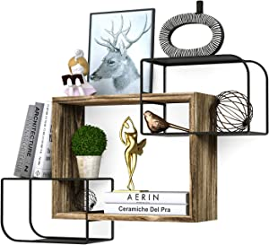 Minggoo Cubes Wall Shelves Set Intersecting Floating Shelves for Office Space, Living Room, Bedroom Decor, Durable, Easy to Install Torched Wood