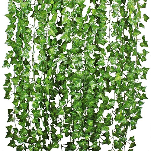 Artiflr 84Feet 12 Strands Artificial Flowers Greenery Fake Hanging Vine Plants Leaf Garland Hanging for Wedding Party Garden Outdoor Office Wall -