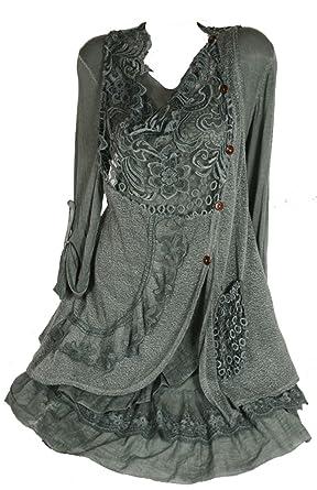 Damen Winter Mohair Twinset Lagenlook Tunika Kleid
