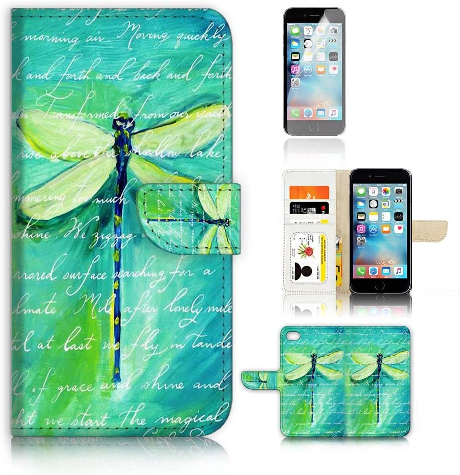 ( For iPhone 6 Plus / iPhone 6S Plus ) Flip Wallet Case Cover and Screen Protector Bundle A4215 Dragonfly