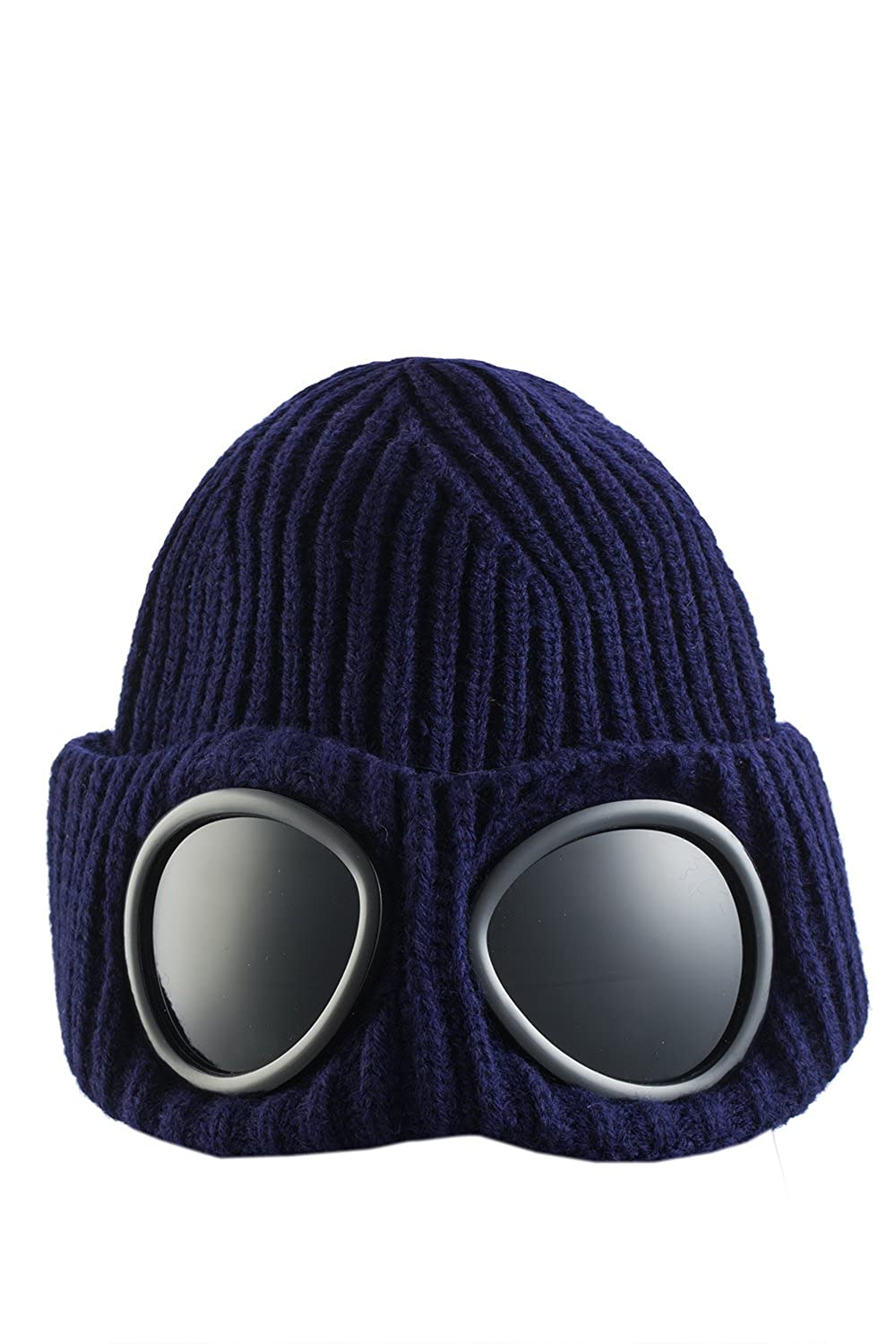 ASVP Shop® Mens Goggle Beanie Knitted Woolly Winter Chunky Beanie Hat