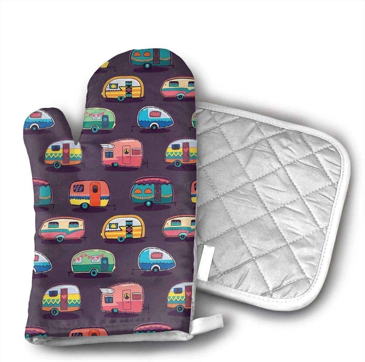 Happy Camper Oven Mitts and Pot Holders Set with Polyester Cotton Non-Slip Grip, Heat Resistant, Oven Gloves for BBQ Cooking Baking, Grilling