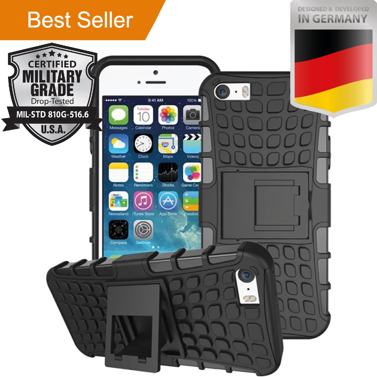 SALE! Iphone 5 & 5S LIMITED STOCK,PREMIUM Heavy Duty Hybrid Dual Layer Case Black Kickstand Shock Absorbent Armor Shock Absorbent Dirt/Dust/Snow Protection Rubber Plastic Skin Cover by MyNovation