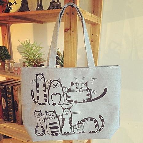 Image Unavailable. Image not available for. Color  Kuuans Feminina Ladies  Female Women Zipper Tote Cats Printed Cartoon Handbags Canvas Beach  Shopping Bag 2c546a2da17dd