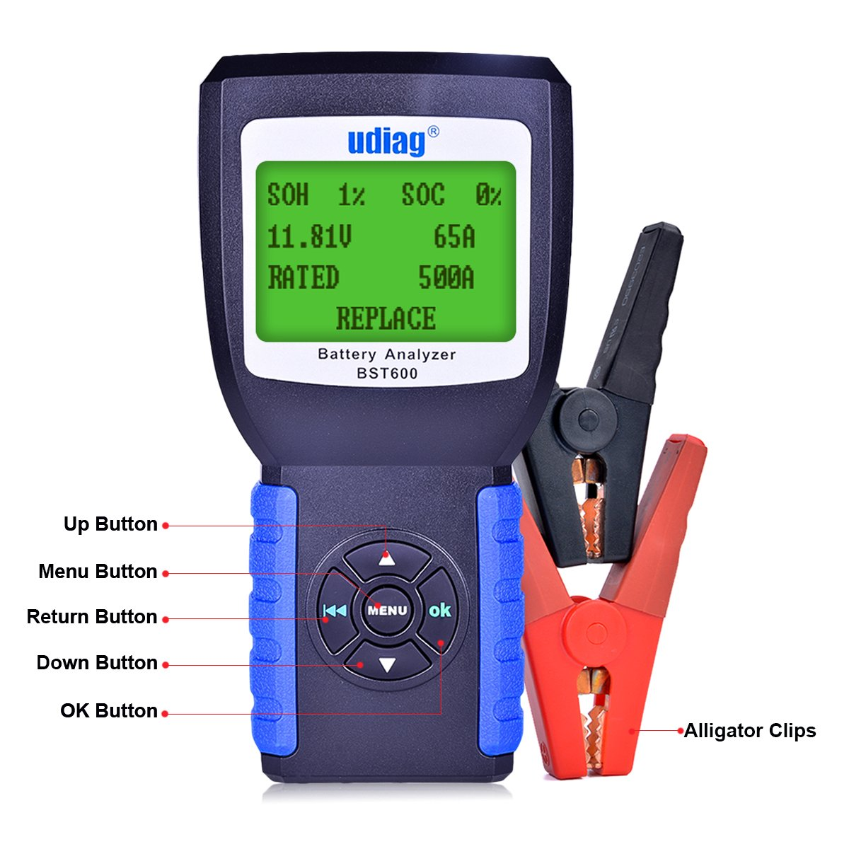 Car Battery Tester, Udiag BST600 Car Battery Load Tester for 12V 100-2000CCA 30-200AH Auto Regular Flooded AGM Flat Plate Gel Batteries Starting and Charging System Blue by udiag (Image #2)