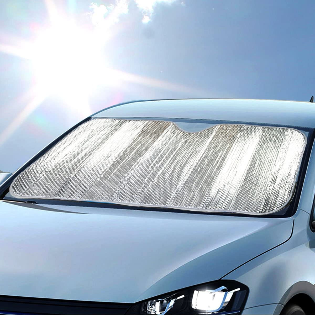 Double Bubble Front Windshield Shade Window Shade- Accordion Folding Auto Sunshade for Car Truck SUV-Blocks UV Rays Sun Visor Protector-Keeps Your Vehicle Cool