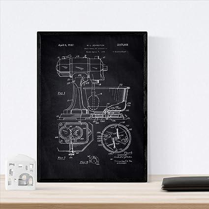 Nacnic Poster con Patente de Batidora Industrial. Lámina con ...