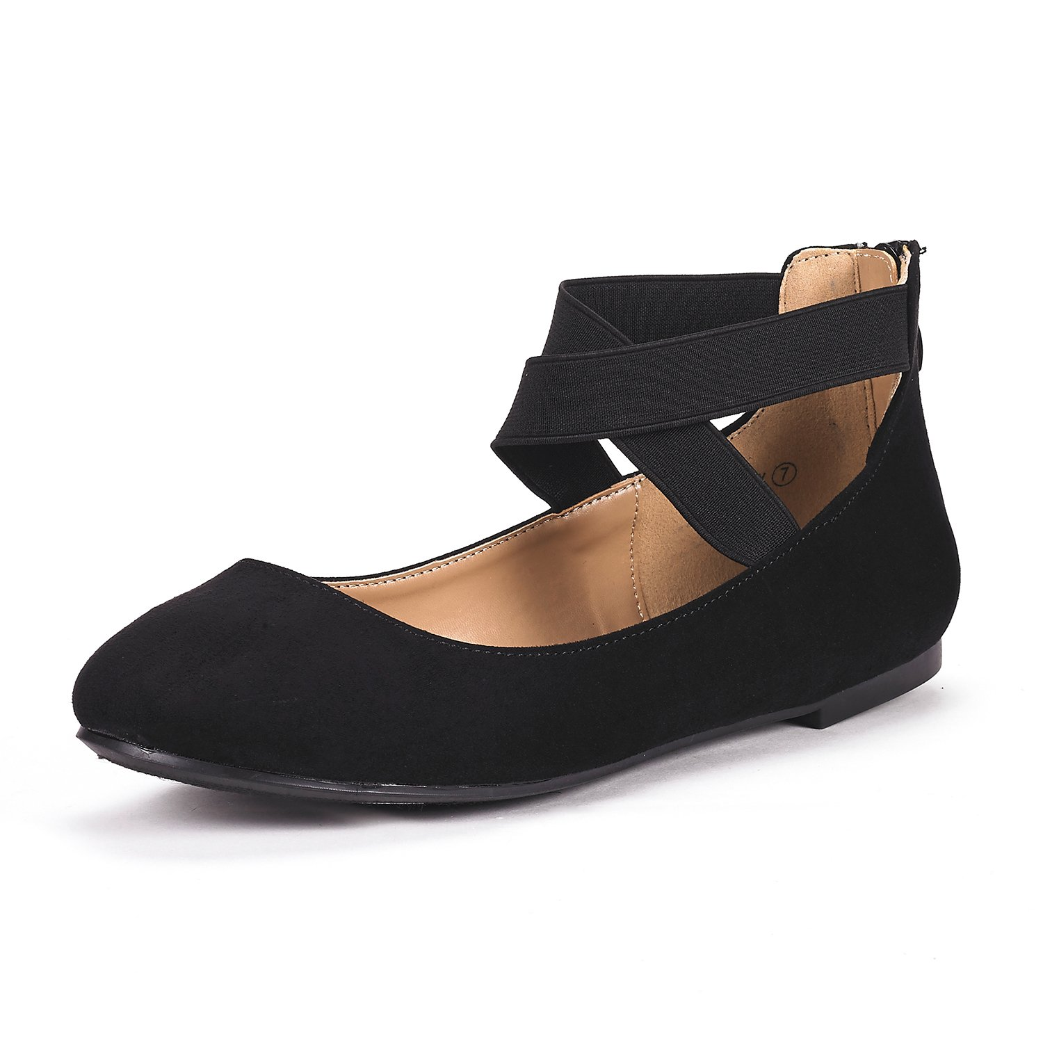 DREAM PAIRS Women's Sole_Stretchy Black Fashion Elastic Ankle Straps Flats Shoes Size 9 M US