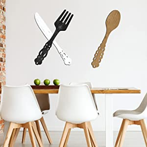 Jetec 3 Pieces Wooden Fork Spoon Knife Wall Decor Kitchen Wood Sign Rustic Kitchen Wall Hanging Signs Farmhouse Kitchen Wooden Cutout Decor for Home Kitchen