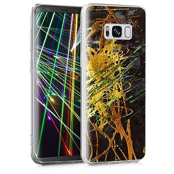kwmobile Funda para Samsung Galaxy S8 - Carcasa de TPU para móvil y diseño de Manchas de Colores en Verde/Dorado/Negro