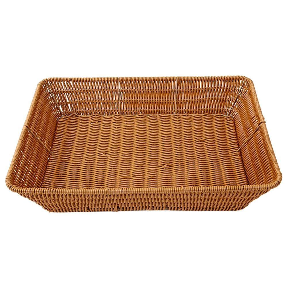 Matefield Imitation Rattan Woven Wicker Bread Basket Iron Frame Vegetable Holder(XL)