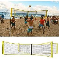 CHUNZ Juego de Red y Juego de Red de Voleibol de Cuatro Cuadrados Crossnet Plegable