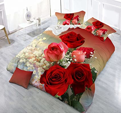 Lenzuola Matrimoniali Con Rose Rosse.Hohai 4piece Goccia D Acqua Rosso Piumone Con Stampa Di Rose Set 3d Romantico Fiori Copripiumino Matrimoniale