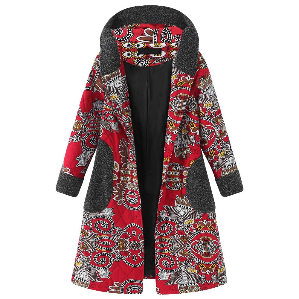Clearance Sale Plus Size Womens Winter Hooded Duffle Coats Vintage Print Fleece Long Sleeve Thicken Parka Jacket Sunmoot Sunmoot-Coat-10