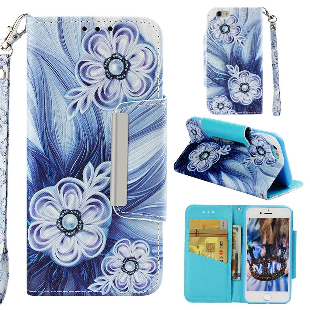 Case for iPhone 6/6S,Slim Durable 3D Printing PU Leather Wallet Case with Magnetic Closure & Wrist Strap Credit Card Holder Inner Soft TPU Bumper ...