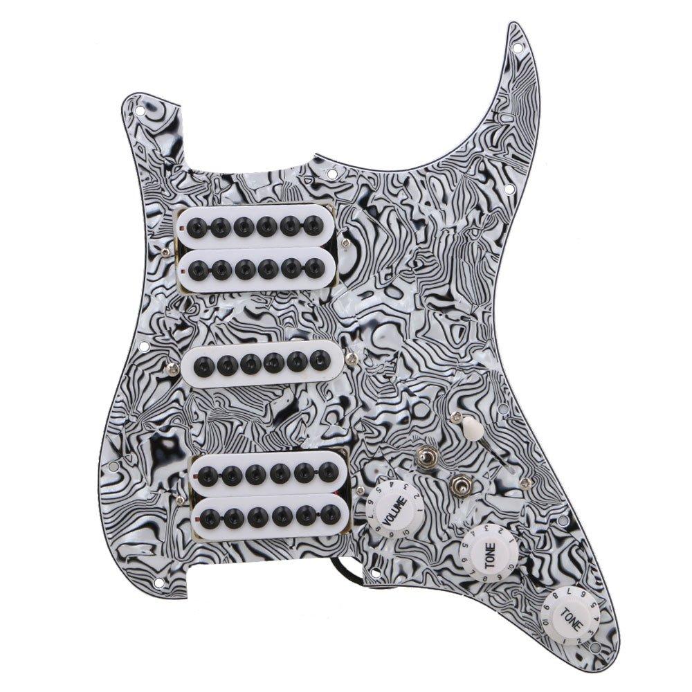 BQLZR Black White Zebra Color 3-ply HSH Electric Guitar Loaded Prewired Pickup Pickguard for Electric Guitar