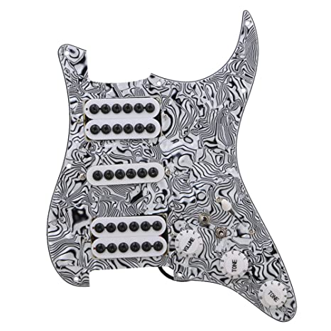 yibuy negro blanco cebra patrón 3 capas Pickups Guitarra eléctrica golpeador precableado Set HSH