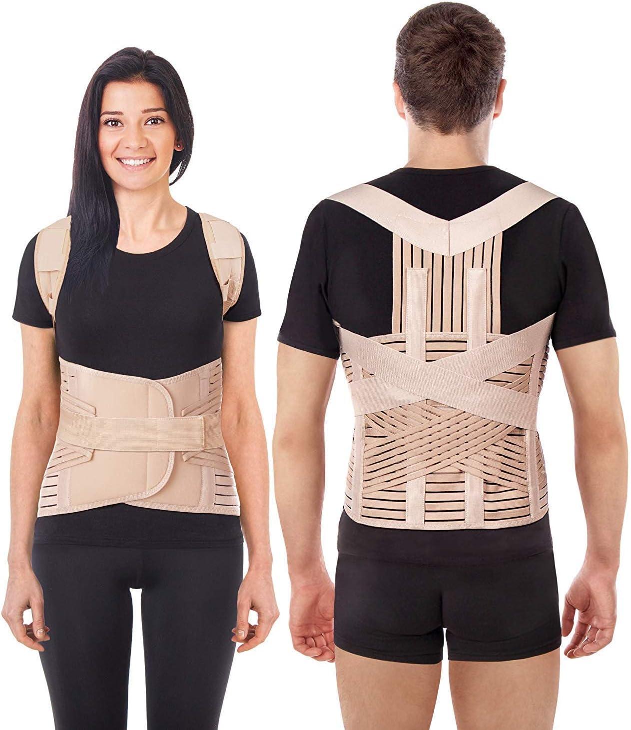 Corrector Postura y Soporte para Espalda respiratorio- corrección de postura-Apoyo a La Columna Vertebral- Cinturón Para Alivio del Dolor de Espalda LUX Beige X-Large