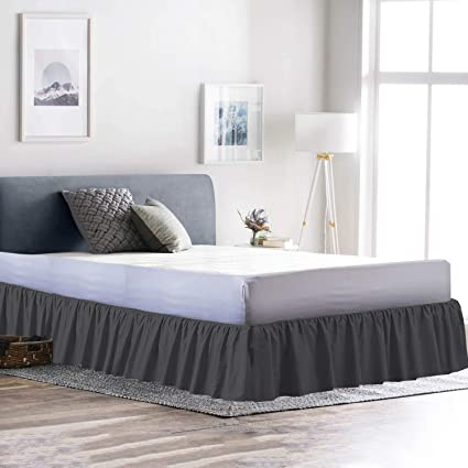 Amazon Com Ruffled Bed Skirt Olympic Queen Dove Grey 21 Inch