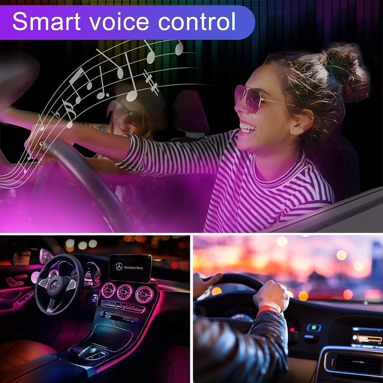 LED Atmosph/äre Licht Zigarettenanz/ünder 12V LED Innenbeleuchtung Auto RGB Auto Innenraumbeleuchtung mit APPFernbedienung 4pcs 48 LED Auto LED Strip omitium Auto LED-Lichtleiste
