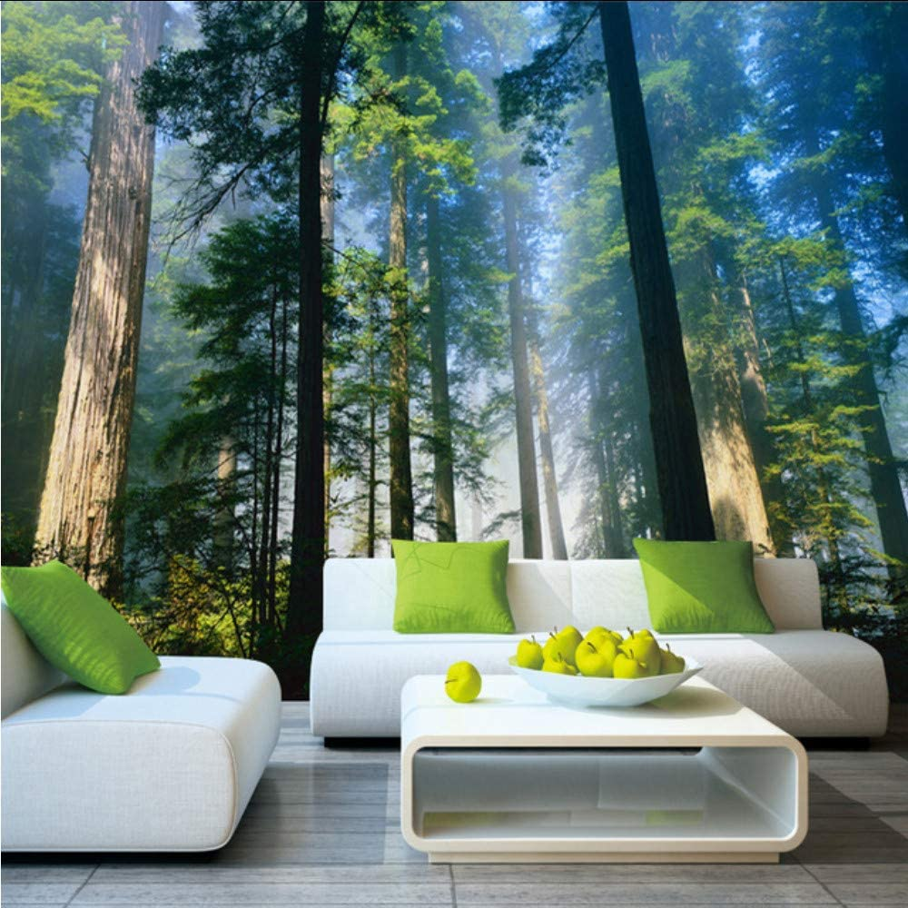 Wall Mural Photo Wallpaper Picture EASY-INSTALL Fleece Forest in the Fog Green