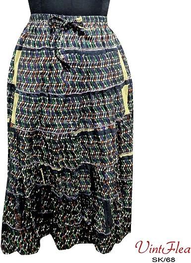 negro maxi falda 100% tela de algodón mujer india visten playa ...
