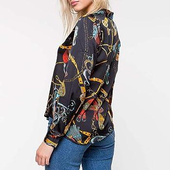 Camisa Estampada con Botones para Mujer, Manga Larga, con Cadenas Impresas, Informal, Blusa con Cuello en V - Negro - Medium: Amazon.es: Ropa y accesorios