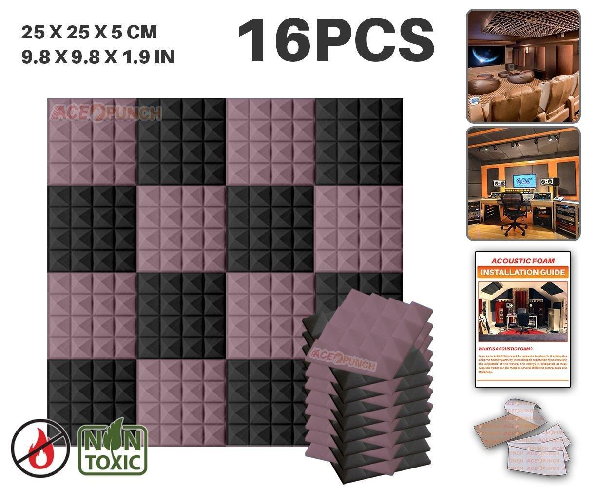 Ace Punch 16 Paquete 2 Colores Espuma Pirámide de Combinación Acústica Panel Para Aislamiento Acústico de Sonido de Tratamiento de Amortiguadores con Cinta de 25 x 25 x 5 cm Negro y Blanco Perla AP1034