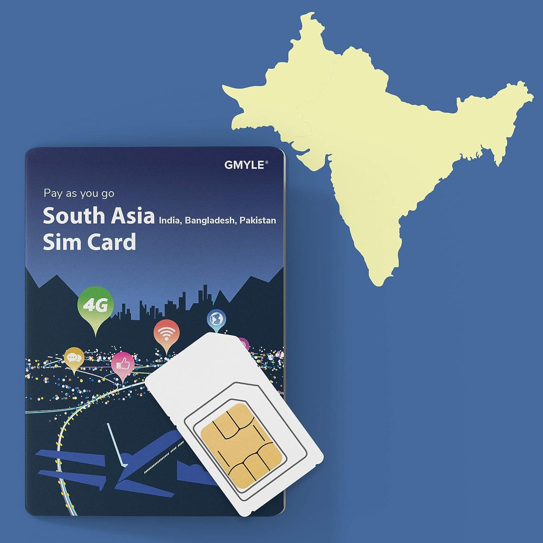 GMYLE Tarjeta SIM prepaga de India, Bangladesh y Pakistán 5GB / 14 ...