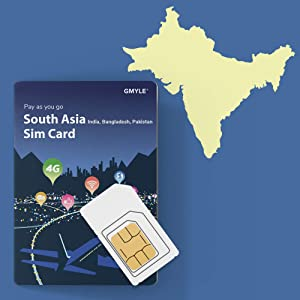 GMYLE Prepaid SIM Card for India, Bangladesh and Pakistan, 5GB/ 14 Days, South Pacific 3 Countries 4G LTE 3G Travel Data, Reusable and Support Online Top up (No Message & Call, Unlocked Phone)