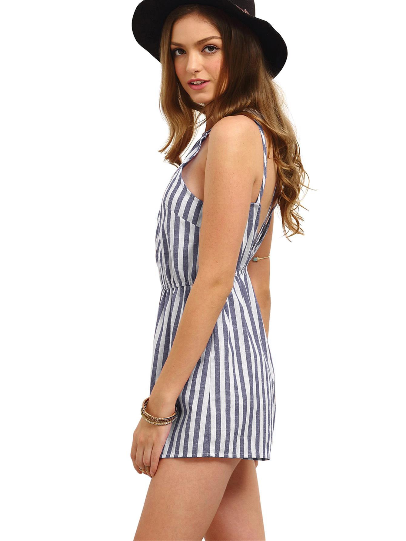 Romwe Women's Casual Striped Sleeveless Halter Sexy Short Romper Jumpsuit Navy XS by Romwe (Image #2)