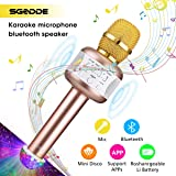 Karaoke Microphone with Flash Ball Light, SGODDE Wireless Bluetooth Microphones Speaker, Singing & Recording Home Party KTV Dynamic Mic Player for Kids,Ipad,iOS and Android Smart Phones