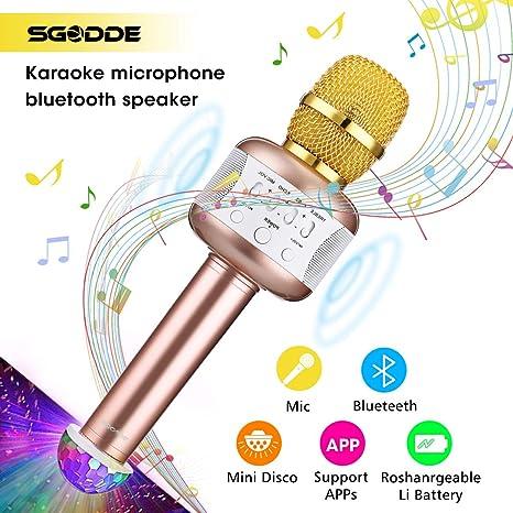 Bluetooth Karaoke Mikrofon mit Disco-Lichtern, SGODDE Kinder tragbare Mikrofon mit Lautsprecher für Erwachsene und Sohn oder