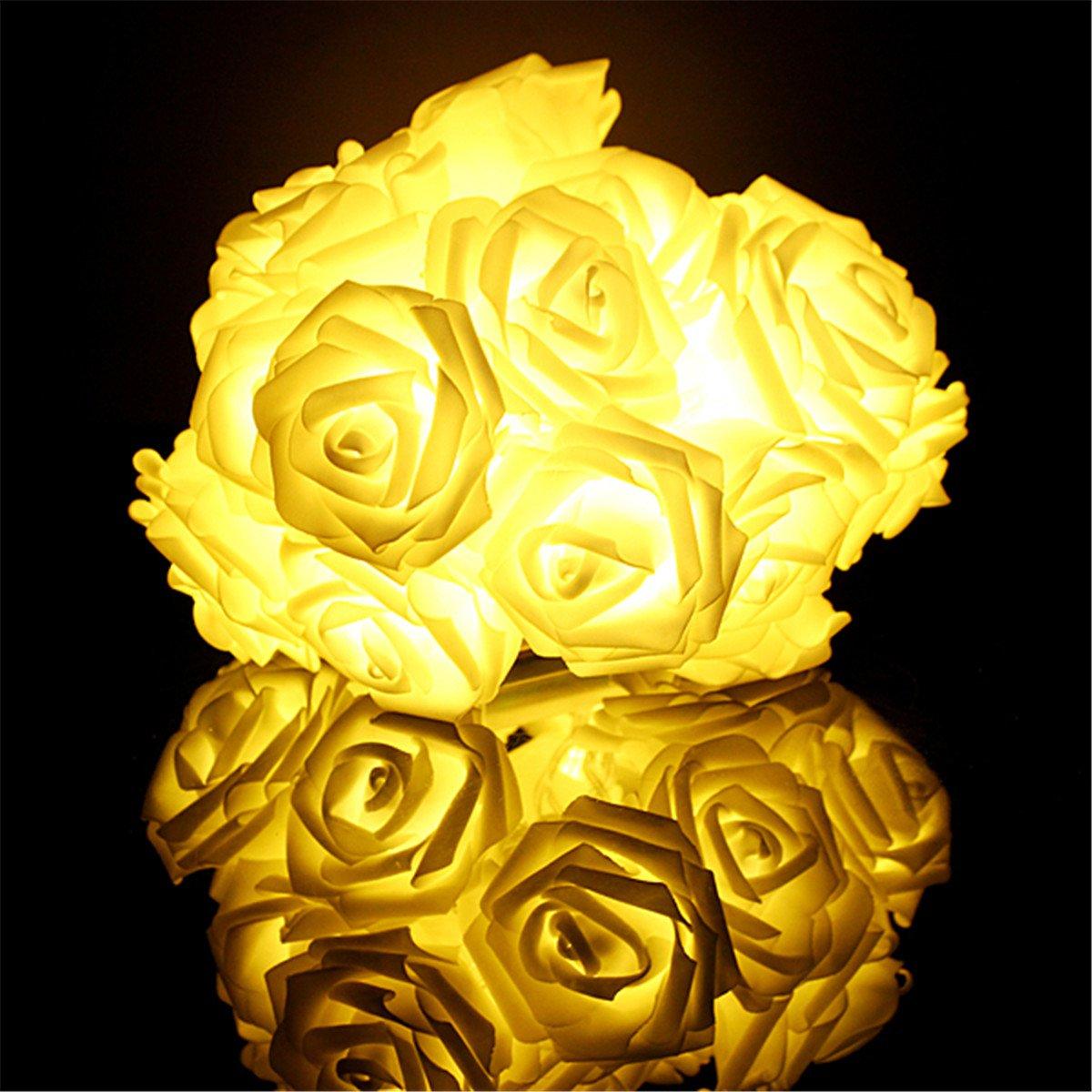 Amazon.com: KINGSO 20 LED Battery Operated Rose Flower String Lights ...