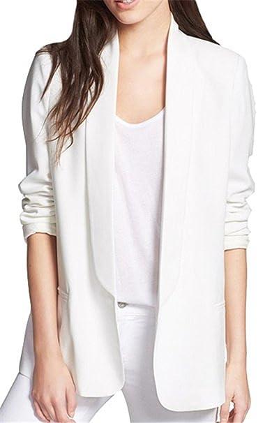 Tailloday - Chaqueta americana para mujer, manga larga blanco blanco