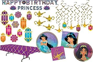 Juego de mesa y decoraciones para fiesta de cumpleaños de princesa, jazmín, para 16 personas: Amazon.es: Salud y cuidado personal