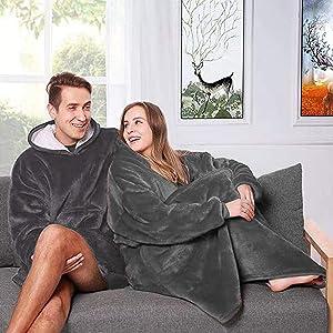 Nappo Hoodie Blanket Sweatshirt, Wearable Sherpa Fleece Oversized TV-Blanket (Oversize, Light Grey)