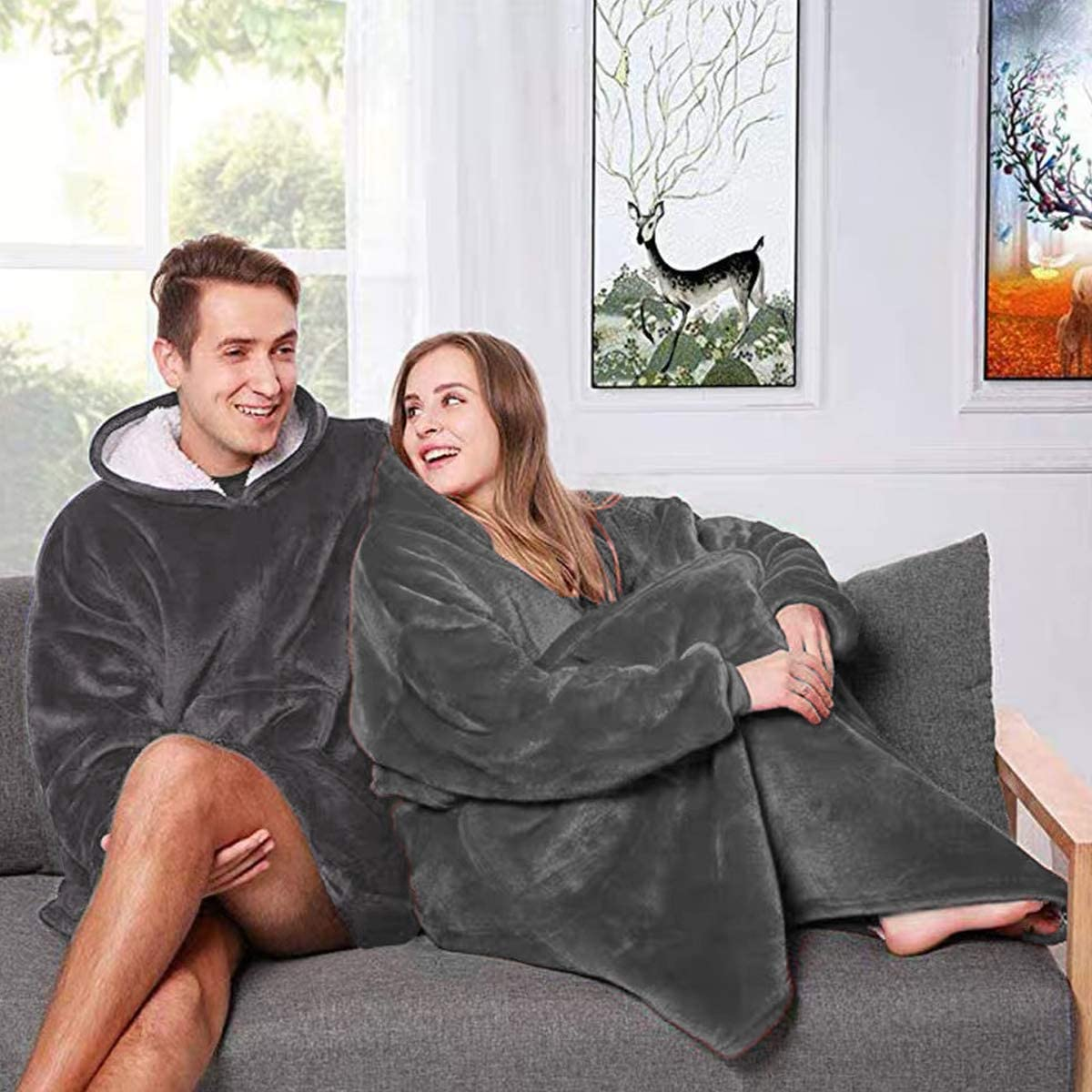 Nappo Hoodie Blanket Sweatshirt, Wearable Sherpa Fleece Oversized TV-Blanket