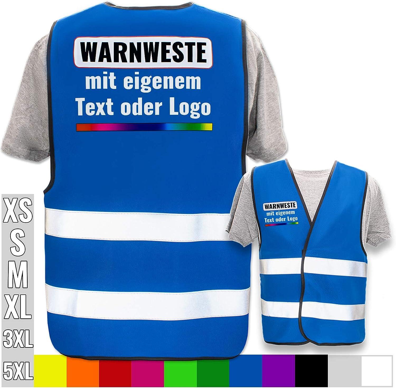 Bedruckt mit Name Text Bild Logo Firma Warnweste selbst gestalten mit eigenem Aufdruck Farbe /& Gr/ö/ße:Schwarz//Gr/ö/ße XL//XXL Position /& Druckart:R/ücken//Premium-Druck