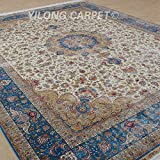 Yilong 9 x12  Handmade Rugs Vintage Persian Medallion with Strewed Flowers Hand Knotted Carpet for Living Room...