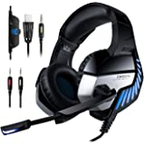 PS4 Headset, ONIKUMA Gaming headset for PS4 Xbox One PC Headphones with Microphone LED Light Noise Cancellation Over Ear Compatible with Nintendo Switch Turtle Beach Games Laptop Mac
