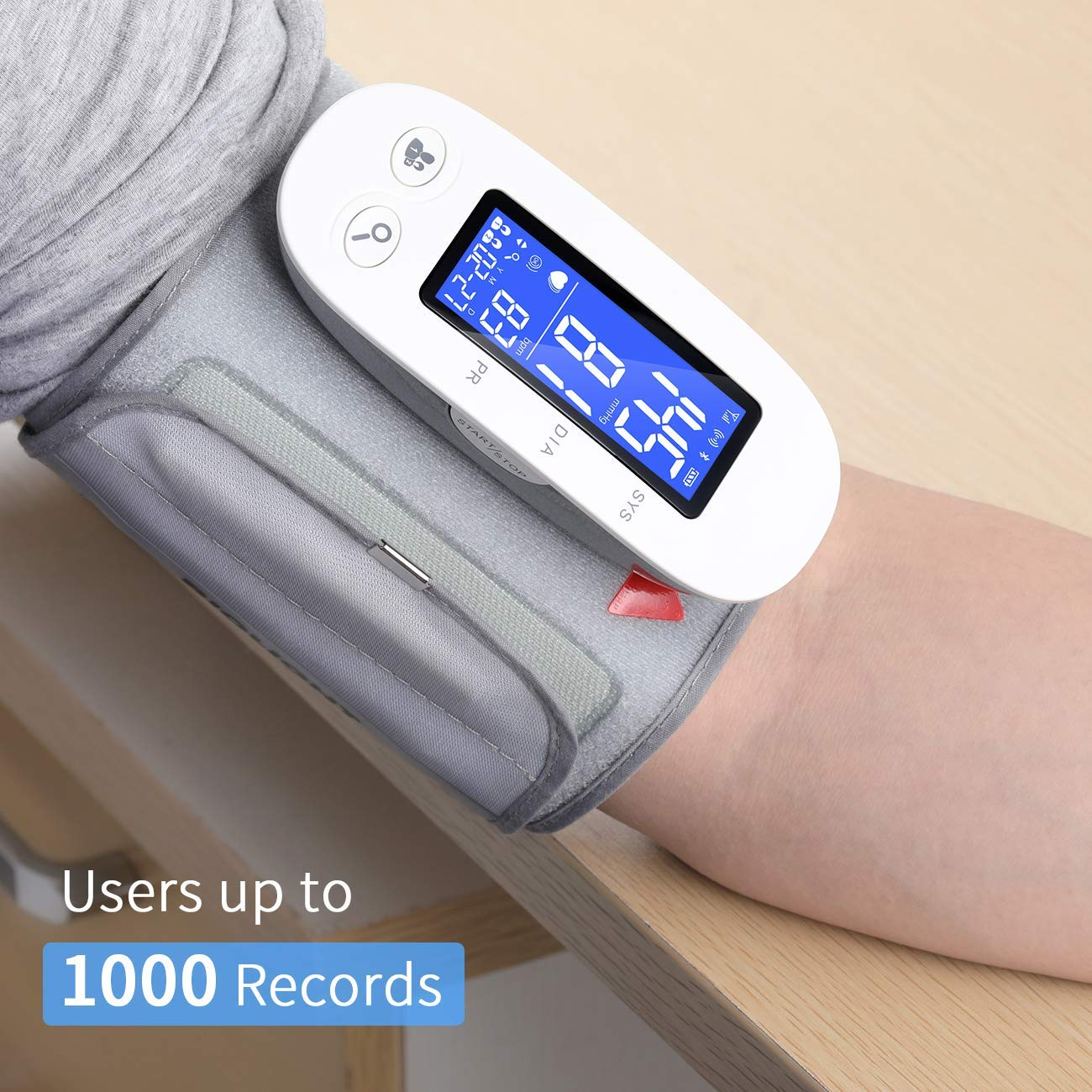 Bluetooth Blood Pressure Monitor, Digital Automatic Blood Pressure Cuff Wrist, FDA Approved Large Screen 2*500 Memory Blood Pressure Machine, Upper Arm BP Monitor Cuff with APP for Apple iOS & Android by PRYMAX (Image #6)