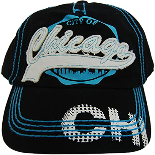 CityDreamShop Selection of Chicago Adjustable Hats and Caps (Blue Stitching) 1477e9cf574