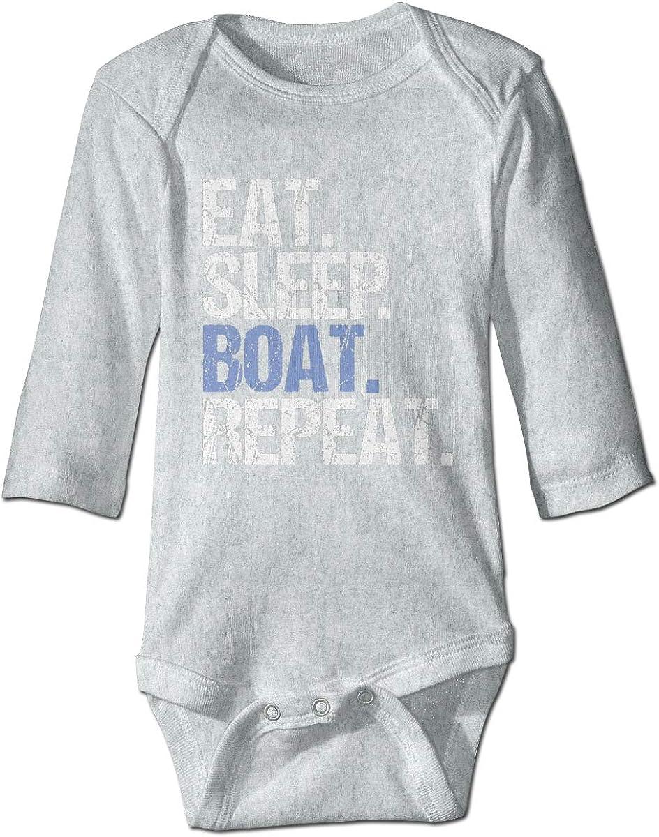 Marsherun Babys Boys and Girls Eat Sleep Boat Repeat Long-Sleeve Climbing Bodysuits Playsuits
